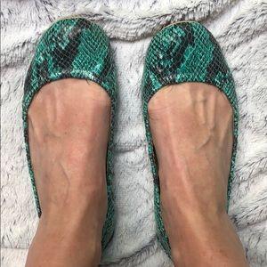 BCBG roll up flat snakeskin shoes